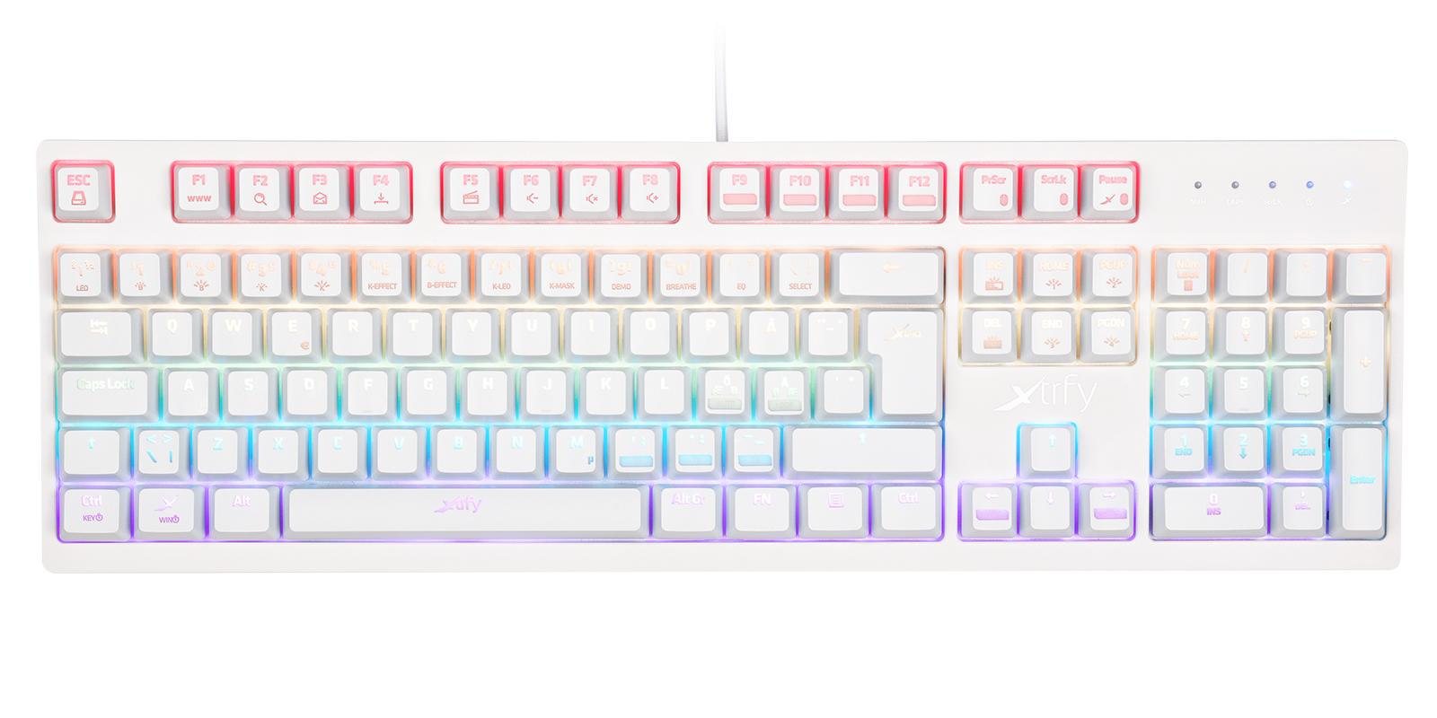 2-RGBホワイト 英語配列 赤軸メカニカル ゲーミングキーボード 1,680万色LEDイルミネーション(各キー設定可) UK配列2
